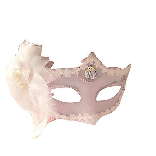 Für Masken Maskerade Männer Weiße (Venezianische Venetianische Weiß mit Muschel und Blume glänzend Glitzer Maske Maskerade Masken Ball Karneval Kostüm Fasching Verkleidung Shades of Grey Mr Grey Herren Damen Männer Frauen Funkelnd Mitternacht)