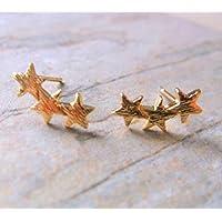 Gold Plate Star Stud Earrings, Gold Starburst Stud Earrings