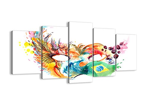 Bild auf Leinwand - Leinwandbilder - fünf Teile - Breite: 160cm, Höhe: 85cm - Bildnummer 3036 - fünfteilig - mehrteilig - zum Aufhängen bereit - Bilder - Kunstdruck - - Rio Karneval Kostüm Bilder