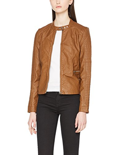 ONLY Damen Jacke onlHEART Faux Leather Jacket OTW NOOS, Braun Cognac, X-Small (Herstellergröße: 34)