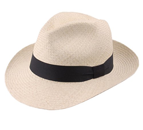 Classic Italy Authentique Chapeau Panama, tressage Traditionnel en Équateur - 4 Coloris - Homme Havana Fedora