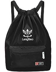 Mochila de cuerda, mujer/hombre, BeGreat bolsa plegable de tela, bolsa casual y de aptitude, para aire libre, viajes, escuela - negro
