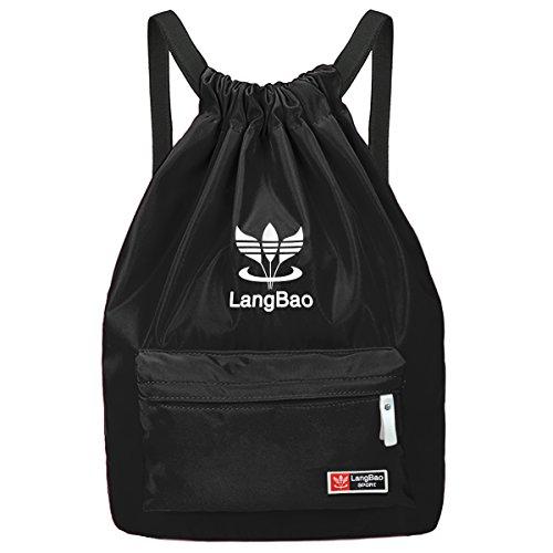 Imagen de  de cuerda, mujer/hombre, begreat bolsa plegable de tela, bolsa casual y de aptitude, para aire libre, viajes, escuela  negro