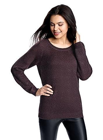 oodji Ultra Damen Pullover mit Bindebändern am Rücken, Violett, DE 38 / EU 40 / M