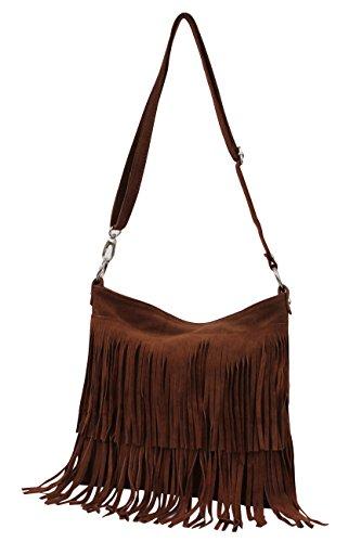 AMBRA Moda Damen Handtasche Ledertasche Umhängetasche Fransentasche Schultertasche Damentasche Wildleder 32 cm x 29 cm x 2 cm WL809 Braun