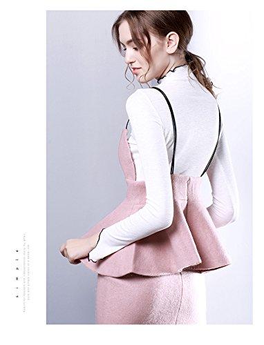 YueLian Maglieria Pura a lunghe Maniche con Balze,4 Colori Bianco