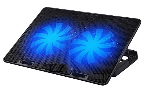 Sky Tech® Chillmate Ergonomic Laptop Cooler with Two Quite LED Fans,and Multi Angle Stand,USB Ports, Adjustable Height, Suitable for Upto 15.6 inch Laptops (1 Year Warranty) (Black)