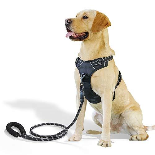 Raining Pet Hundegeschirr Hunde Geschirr für Große Hunde Anti Zug Geschirr No Pull Sicherheitsgeschirr Kleine Mittlere Hunde Brustgeschirr Schwarz L