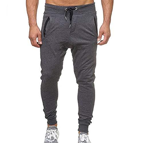 Bestow Pantalones Deportivos Deportivos de los Hombres activanpantalón chándal Flojo Ocasional de la Aptitud de los Hombres (Gris,XL)