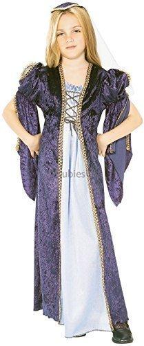 Mädchen Lang Mittelalterlich Lady Marian Juliet Tudor Historisch Kostüm Kleid Outfit - Blau, 8-10 Years