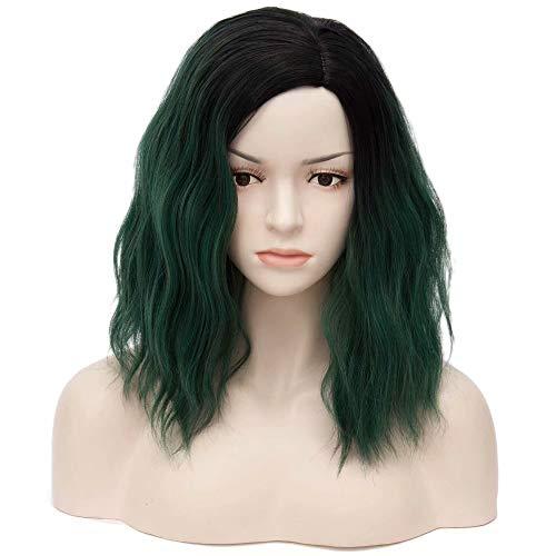 COSPLAZA Schwarz Wurzeln Grün Kurze Lockige Wellenförmige Haare für Frauen Synthetische Cosplay Halloween Perücken Täglichen Gebrauch Natürlich Aussehende 16
