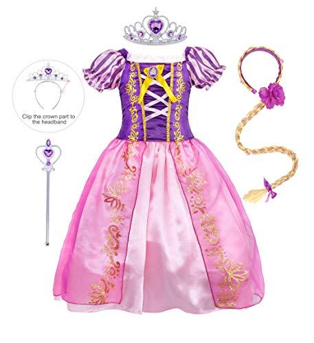 AmzBarley Prinzessin Rapunzel Kostüm Kinder Mädchen Tutu Verrücktes Kleid Kleider Halloween Cosplay Kleidung Geburtstag Party Ankleiden Karneval Zeremonie Hochzeit Abendkleid Krone Zauberstab Flechten