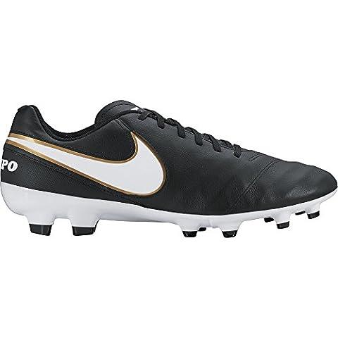 Nike Tiempo Genio II Leather FG, Herren Fußballschuhe, Schwarz (Black/White-Metallic
