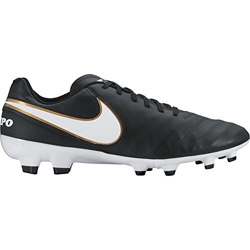 Nike Tiempo Genio II Fg, Chaussures de Football homme Noir (Black/White/Metallic Gold)