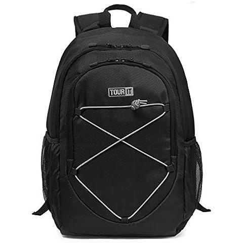 Tourit enfriador de mochila para senderismo bolso aislado de refrigeradores 25L, negro