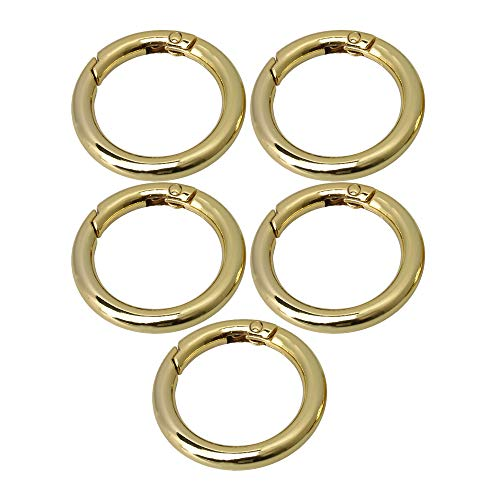 BQLZR 42 mm Außendurchmesser 30 mm ID Gold Zinklegierung Rund Karabiner Karabiner Karabiner Clip Ring Schnalle für Taschen, Geldbörsen und Schlüsselanhänger, 5 Stück