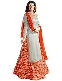 Skyblue Fashion Women's Grey Orange Satin Silk & Banglori Silk Printed Lehga Semi-stitched Salwar Suit