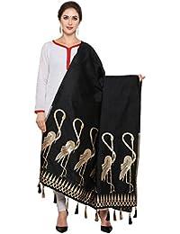Ravechi Fab Women's Art Silk And Zari Work Dupattas (Black)