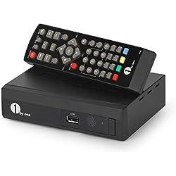 Décodeur TNT TV HD 1byone Récepteur DVB T/DVB T2 Tuner Converteur Digital pour TV Analogue avec Enregistrement et Direct Pause TV, Boîtier HDTV 1080p HEVC H.265 / MPEG, USB Multimedia Nouvelle Version