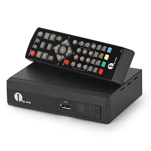 1byone HD DVB-T/T2 Kabel Receiver für digitales Kabelfernsehen mit Aufnahme- und Pausefunktion für Live TV, USB Wiedergabe, HDTV Receiver für 1080p (neue Version) – in Schwarz