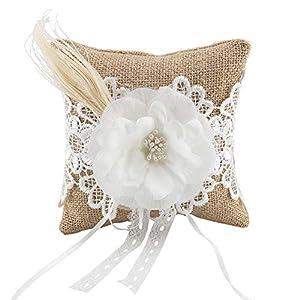 AUNMAS Sackleinen Ring Bearer Kissen mit Blütenknospen Dekor Hochzeit Bänder Ringkissen Kissen Ring Halter Hochzeit Verlobungsfeier Zubehör (1#)