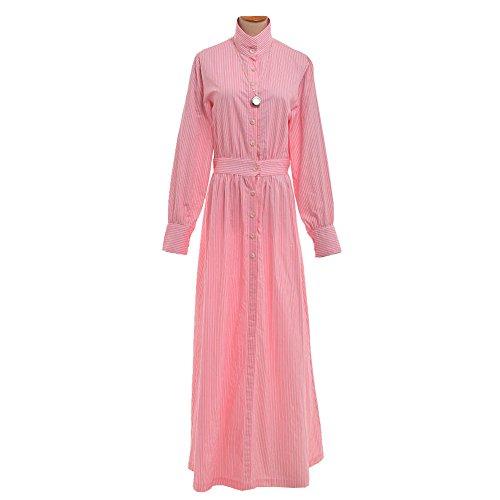 Kostüm Gouvernante (GRACEART Edwardian Pionier Alt West Siedler Gouvernante Kostüm Gestreift Baumwolle Kleid)