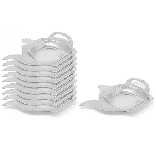 COM-FOUR 10x Teebeutelablage aus Metall, Teebeutelhalter in Teekannen-Optik, ideal zum Servieren, 13 x 9,5 x 1,1 cm (10 Stück)