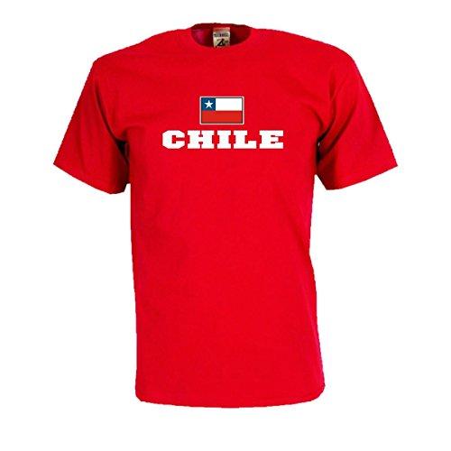 T-Shirt CHILE Flagshirt bedrucktes Fanshirt, Flagge und Schriftzug Geschenk Andenken für Besucher Gäste Fans (WMS02-14a) Mehrfarbig