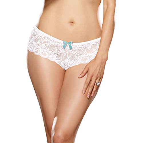 Dreamgirl Women's Plus-Size Open For Business Open Crotch Cheeky Boyshort Panty, White, XXX-Large (Boyshorts Cheeky)