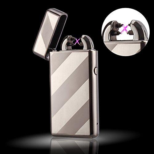 Elektronisches Feuerzeug von Outry, Lichtbogen Feuerzeug mit USB umweltfreundlich, windfest, elegant und schnell wieder aufladbar (Metal)