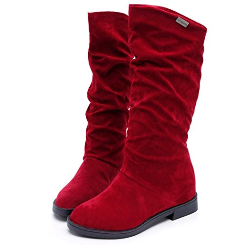 da Vovotrade Rosso stivali scarpe Donne neve Flock dolce stivale PHwrHfZqFY