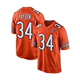 Rugby Masculin T-Shirt, Chicago Bears, Payton # 34, Vêtements de Sport Football américain, Respirant Jersey (Color : Orange, Size : S)