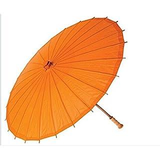 ANKKO Chinese Japanese Style Bamboo Parasol Stick Umbrella (Orange)