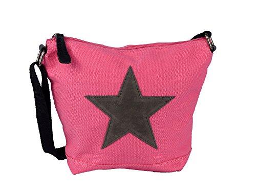 yourlifeyourstyle Bunte Umhängetasche Canvas mit aufgenähtem Stern - Maße 26 x 22 x 8 cm - Damen Mädchen Teenager Tasche mit verstellbaren Schulterriemen - viele Farben (pink/grau)