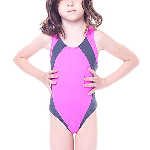 Aquarti Mädchen Badeanzug mit Ringerrücken Kinder Schwimmanzug Sport Swimsuit Schwimmerrücken, Farbe: Pink / Grau, Größe: 122