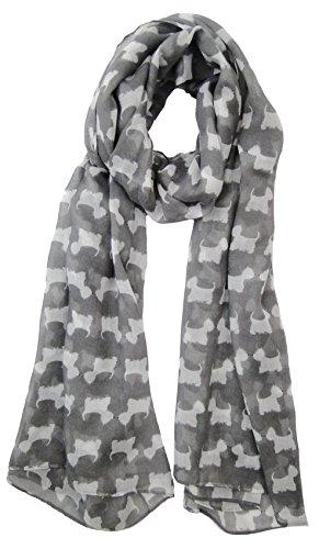 Color gris Scottie Westie Highland Terrier Animal Perro Bufanda Ladies Fashion bufandas