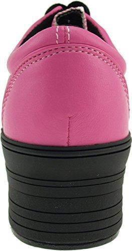 Maxstar C50 5 trous à plateforme basse Casual Baskets Chaussures bateau Rose - TC-Pink