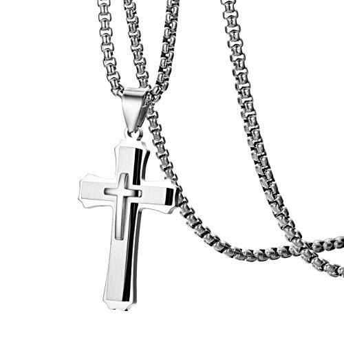 OIDEA Herren Damen Edelstahl Christus Kreuz Anhänger mit 56cm Halskette Silber