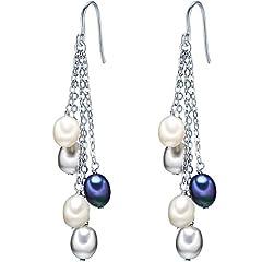 Idea Regalo - Valero Pearls Orechinni pendenti da Donna in Argento Sterling 925 con rodio con Perle coltivate d'acqua dolce bianco grigiore blu pavone 60201338