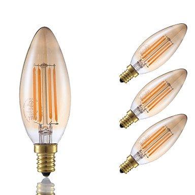 HZZymj-3.5 E12 Bombillas de Filamento LED B 4 COB 300 lm Ámbar Regulable / Decorativa V 4 piezas