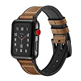 SUPERSUN para Correa Apple Watch 42mm Cuero, Correa iwatch Silicona Reemplazo de Banda para Apple Watch Series 4 44mm, Series 3/Series 2/Series 1, Marrón