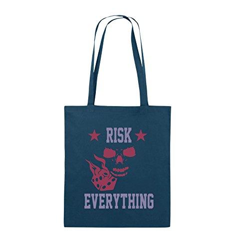 Comedy Bags - Risk everything - Jutebeutel - lange Henkel - 38x42cm - Farbe: Schwarz / Weiss-Pink Navy / Violet-Fuchsia