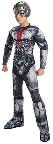 Alien Kostüm Cyborg - Justice League Deluxe Boy's Cyborg Fancy Dress Costume Large