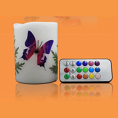 3pcs coloré Fundador sin humo mariposa antiquemaduras LED vela luz decorativa lámpara con mando a distancia 18teclas