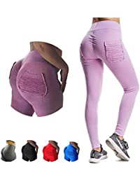 c57d0564a YOFIT Women Ruched Butt Yoga Pants Lifting Leggings High Waisted with  Pockets Sport Tummy Control Gym