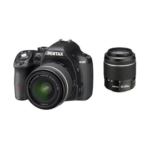 "Pentax K-50 Fotocamera e obiettivo DA-L 18-55 WR e DA-L 50-200mm WR, sensore CMOS APS-C da 16,49 Megapixel, Display LCD da 3"", Video Full HD, Nero"