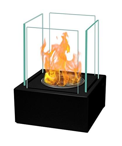 Preisvergleich Produktbild Tischkamin 17x13 cm aus Edelstahl Bio-Ethanolkamin schwarz