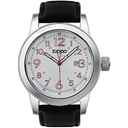 Zippo Men's Casual Watch 45002 With White Dial And Black Leather Strap