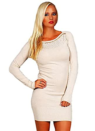 10641 Fashion4Young Damen Strick Minikleid LongPullover Pullover Pulli Kleid in 5 Farben 2 Größen (S/M=34/36, Creme)