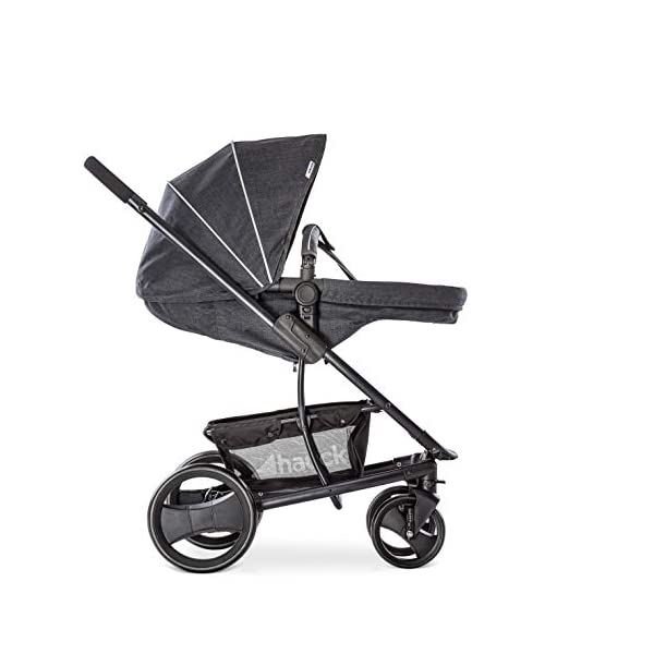 Hauck Pacific 4 Shop N Drive, Lightweight Pushchair Set with Group 0 Car Seat, Carrycot Convertible to Reversible Seat, Footmuff, Large Wheels, From Birth to 25 kg, Melange Charcoal Hauck  32